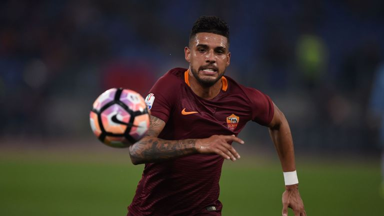 Roma's defender from Brazil Emerson Palmieri runs for the ball during the Italian Tim Cup second leg semi-final football match AS Roma vs Lazio on April 4,
