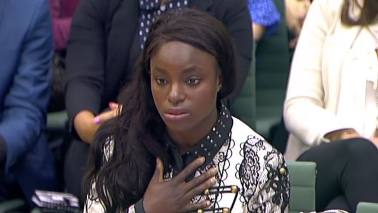 Footballer Eniola Aluko answers questions in front of the Digital, Culture, Media and Sport Committee at Portcullis House in Westminster, London.