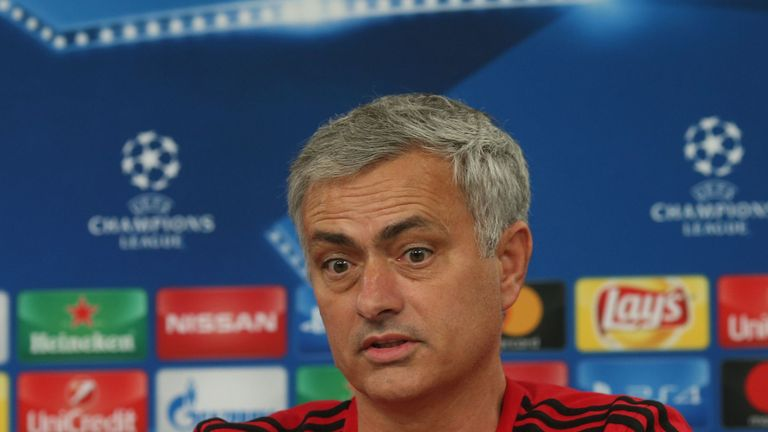 Manager Jose Mourinho of Manchester United speaks during a press conference ahead of their UEFA Champions League match against Benfica on October 17, 2017