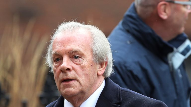 Chief executive of the Professional Footballers Association Gordon Taylor arrives for the funeral service for Graham Taylor held at St Mary's Church, Watfo