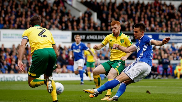 IPSWICH, ENGLAND - OCTOBER 22:  Jonas Knudsen of Ipswich Town shoots during the Sky Bet Championship match between Ipswich Town and Norwich City at Portman