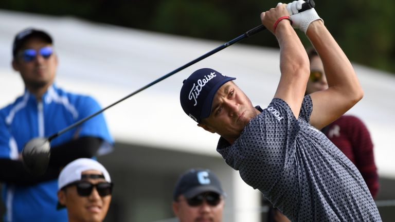 Justin Thomas of the US tees off on the 11th hole during the first round of the CJ Cup golf tournament, the US PGA Tour's first foray into South Korea, at