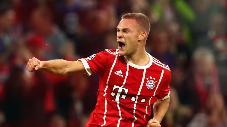 Joshua Kimmich celebrates scoring Bayern Munich's second goal