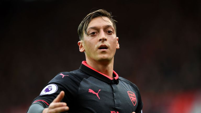 Mesut ozil during the Premier League match between Stoke City and Arsenal at Bet365 Stadium on August 19, 2017 in Stoke on Trent, England.