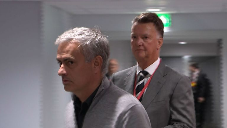 Jose Mourinho and Louis Van Gaal meet in the tunnel at Anfield before Manchester United's game with Liverpool