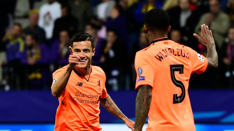 Philippe Coutinho celebrates his goal against Maribor