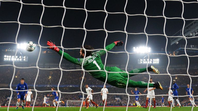 LONDON, ENGLAND - OCTOBER 18:  Alisson Becker of AS Roma dives but fails to stop David Luiz of Chelsea (obscure) shot from going in for Chelsea first goal