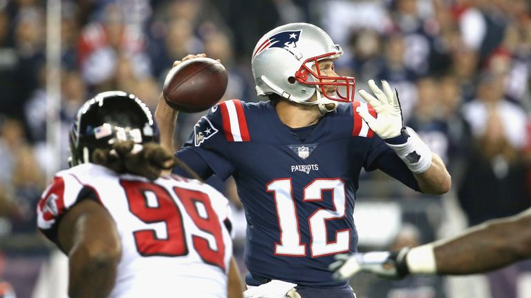 FOXBORO, MA - OCTOBER 22:  Tom Brady #12 of the New England Patriots throws during the first quarter of a game against the Atlanta Falcons at Gillette Stad