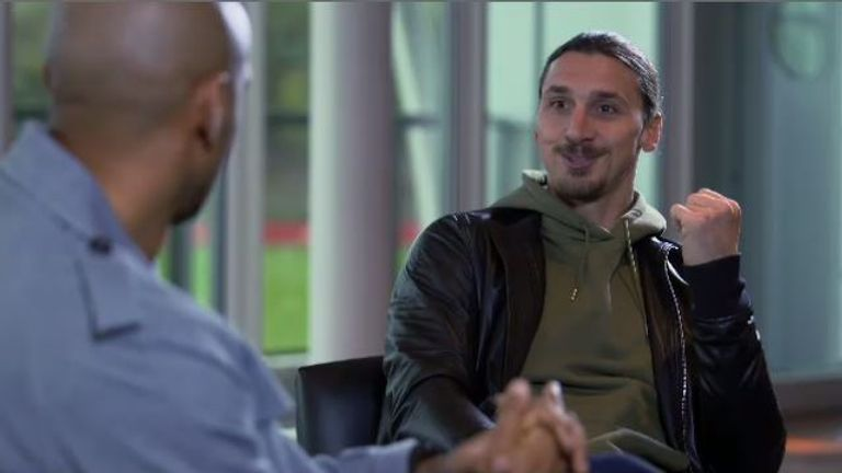 Zlatan Ibrahimovic talking to Thierry Henry