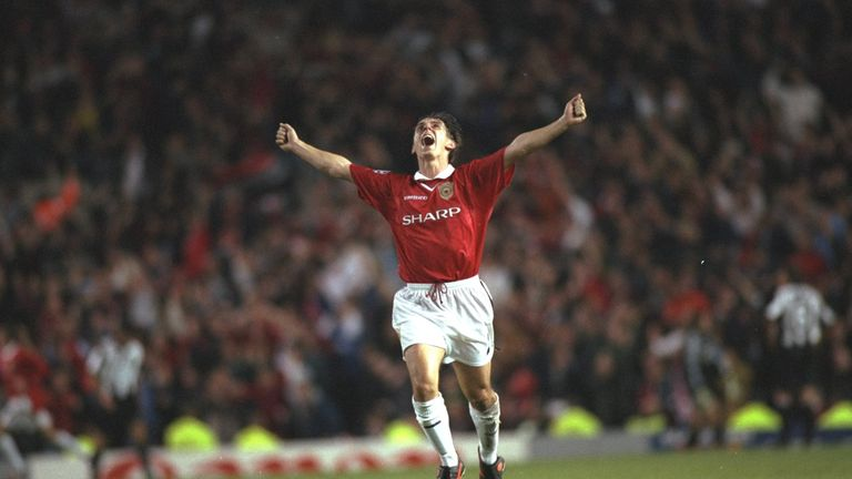Gary Neville celebrates a goal in Manchester United's 3-2 win against Juventus at Old Trafford