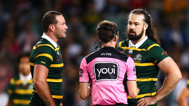 Aaron Woods speaks to the referee during the Lebanon game