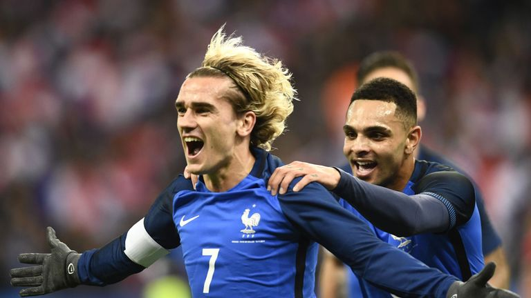 Antoine Griezmann celebrates after putting France ahead against Wales