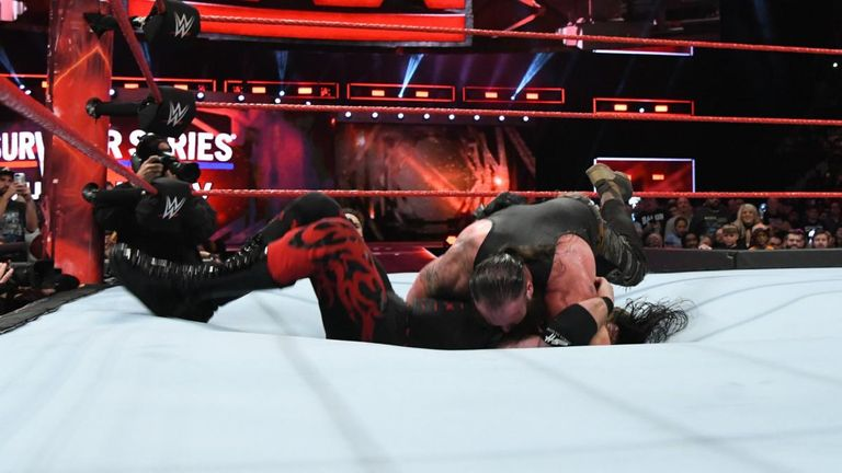 Braun Strowman put Kane through the ring with a running powerslam