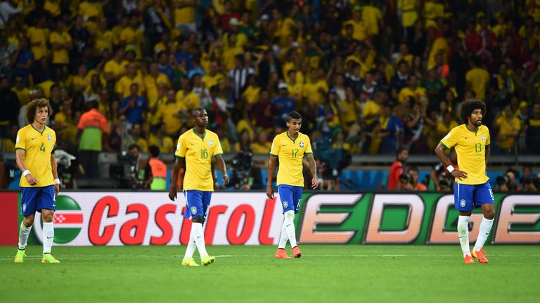 Brazil players show the pain during their 7-1 defeat to Germany