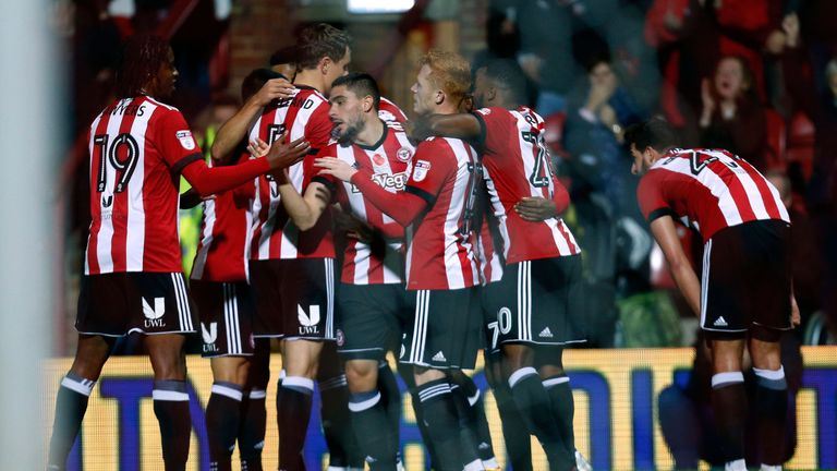 Brentford's Neal Maupay celebrates scoring their first goal