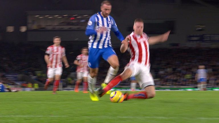 Stoke defender Ryan Shawcross' challenge on Brighton's Glenn Murray back in November may have been given as a penalty if VAR was used.