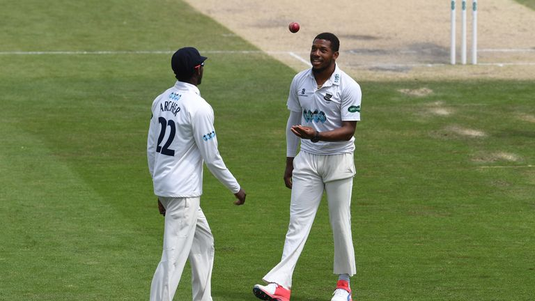 Chris Jordan (right) helped his fellow Barbadian earn a contract at Sussex