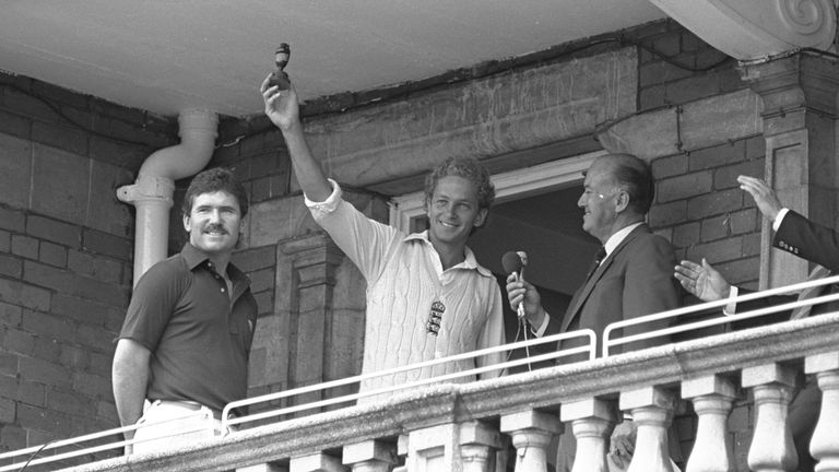 David Gower holds up the Ashes after England defeat Australia at the Oval in 1985, to win the series 3-1