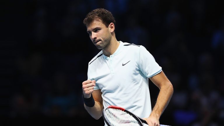 ATP Finals: Grigor Dimitrov stutters to three-set victory over Dominic Thiem