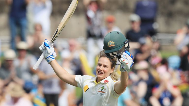 Ellyse Perry celebrates her century during day three of the Women's Test match between Australia and England