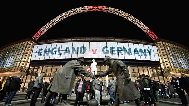 The Wembley arch was lit in red and and a replica  of 'The Truce' statue was placed outside the stadium