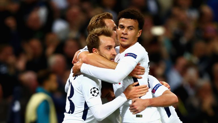 Christian Eriksen celebrates  after scoring against Real Madrid