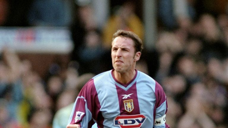 Gareth Southgate celebrates scoring for Aston Villa