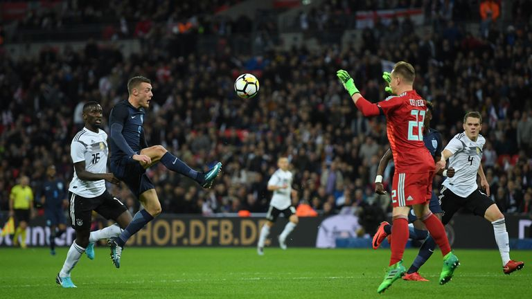 Jamie Vardy tests Marc Andre Ter Stegen in the second half