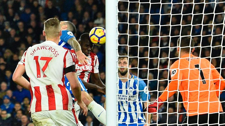 Kurt Zouma heads Stoke back in front on the stroke of half-time