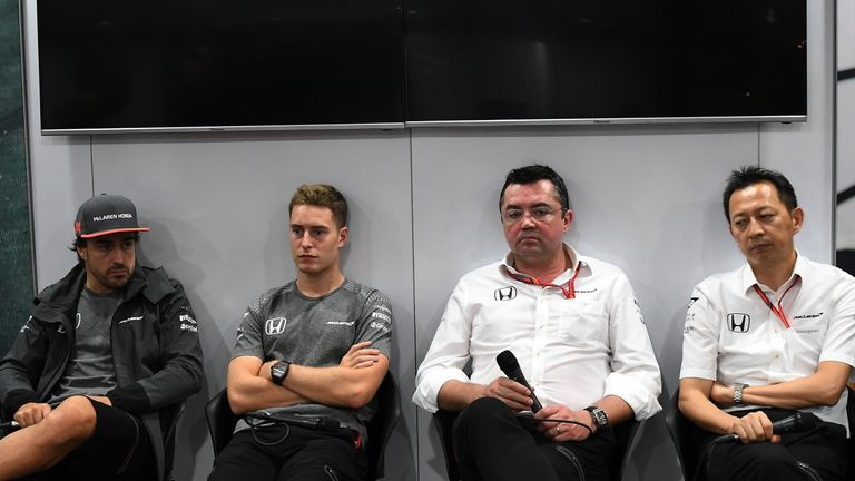 The end of the F1 road for Yusuke Hasegawa (far right) following Honda's split from McLaren