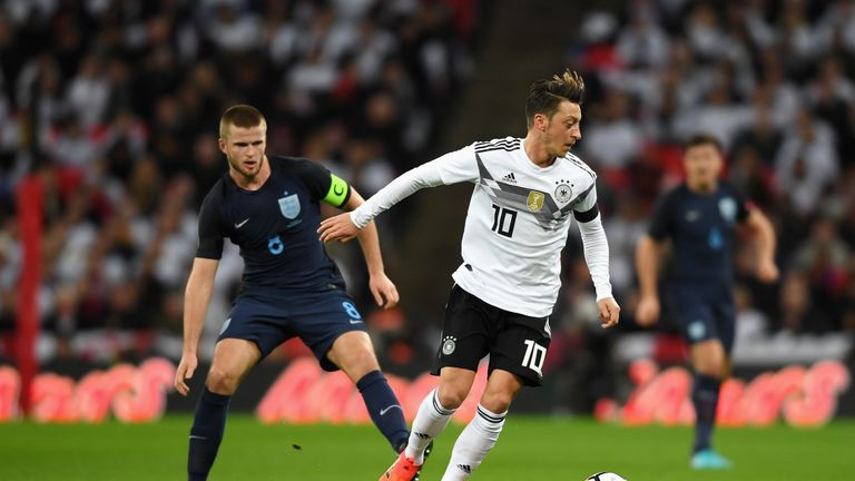 Tottenham's Eric Dier came up against Arsenal's Mesut Ozil at Wembley on Friday