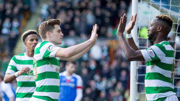 Dembele celebrates scoring Celtic's second goal of the game