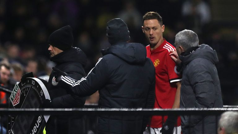 Nemanja Matic was subbed off with an injury after 54 minutes at Vicarage Road