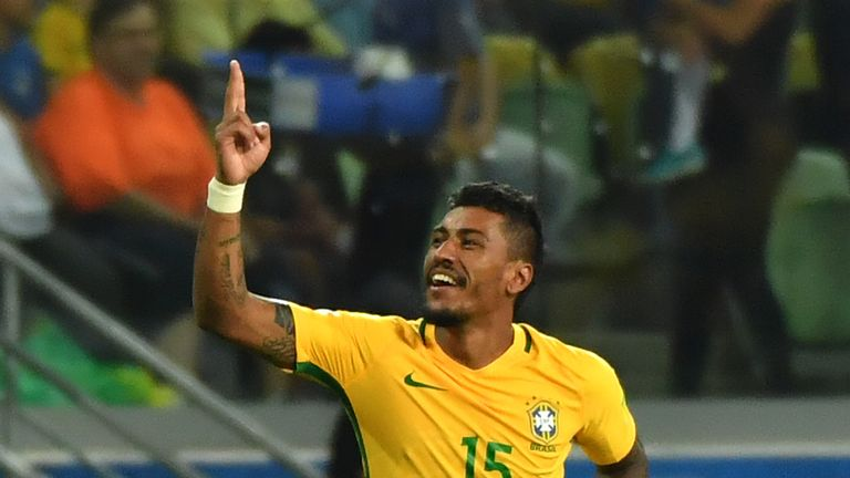 Brazil's Paulinho celebrates after scoring against Chile