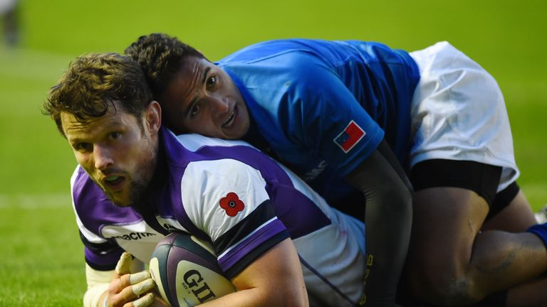 Scotland's Peter Horne scored one of the 11 tries in the 44-38 win over Samoa