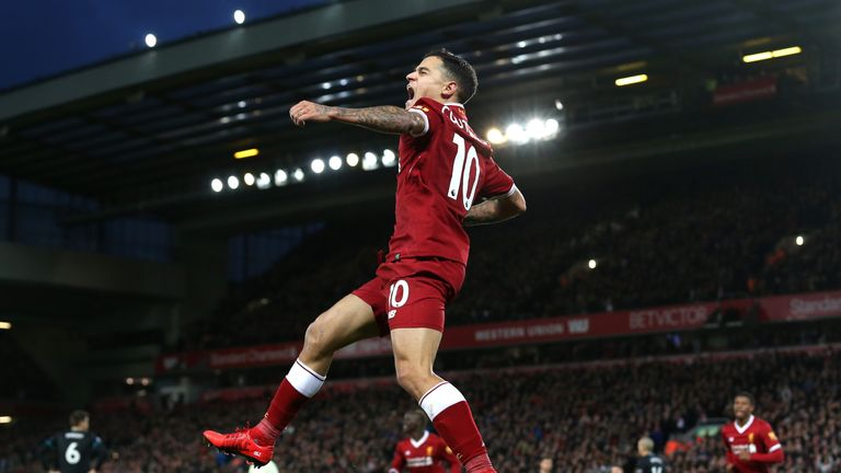 Philippe Coutinho has scored three goals in seven Premier League starts for Liverpool this term