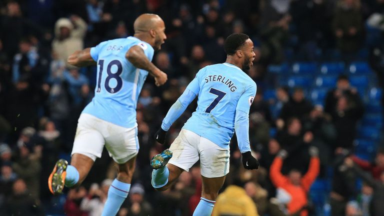 Raheem Sterling celebrates his late winner for City against Southampton last week