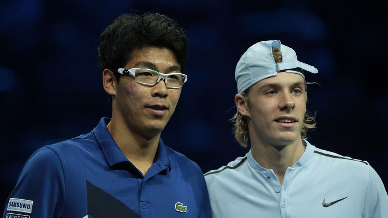 Hyeon Chung (L) and Denis Shapovalov are two youngsters to watch
