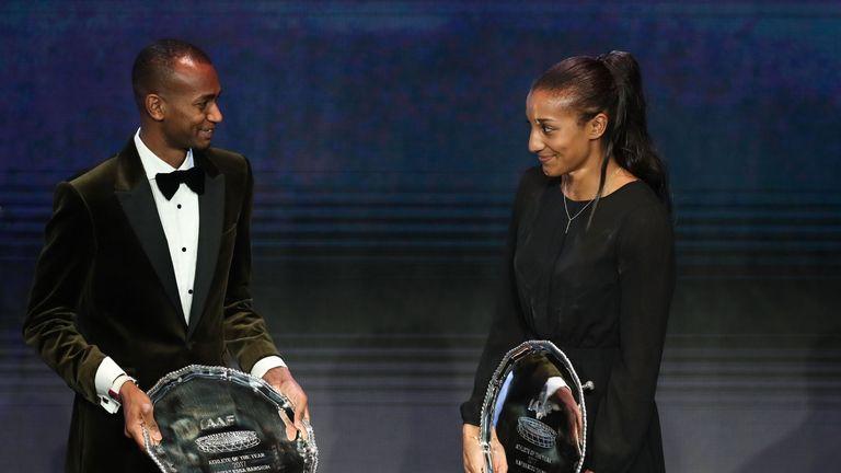 Mutaz Essa Barshim (left) and Nafissatou Thiam react with their trophies