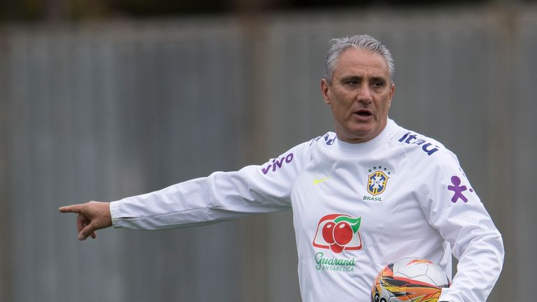 Brazil's coach Tite conducts a training session of the national football team