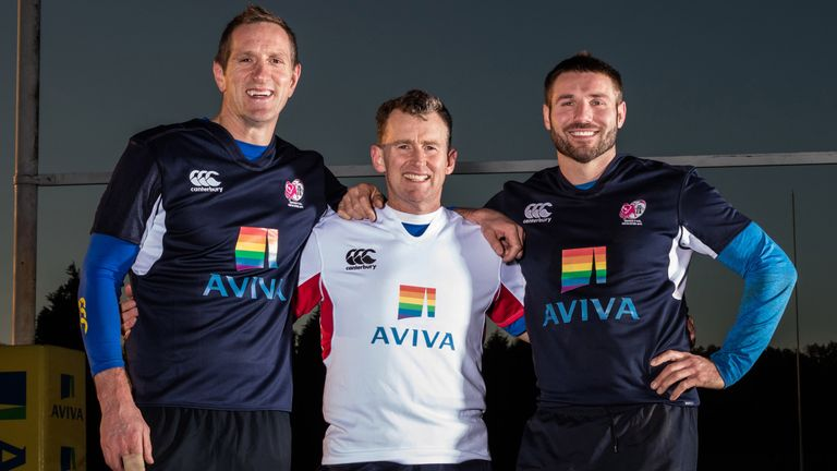 Will Greenwood, Ben Cohen and Nigel Owens at an LGBT-inclusive rugby club event earlier this season