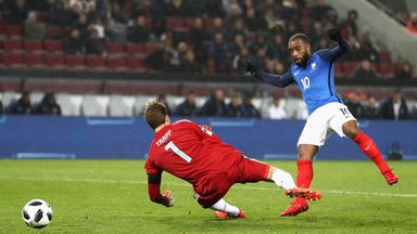 Alexandre Lacazette netted twice for France against Germany