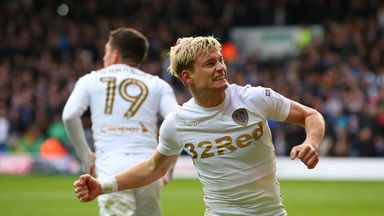 Ezgjan Alioski celebrates after scoring Leeds' second goal