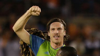 Gustav Svensson celebrates scoring for Seattle