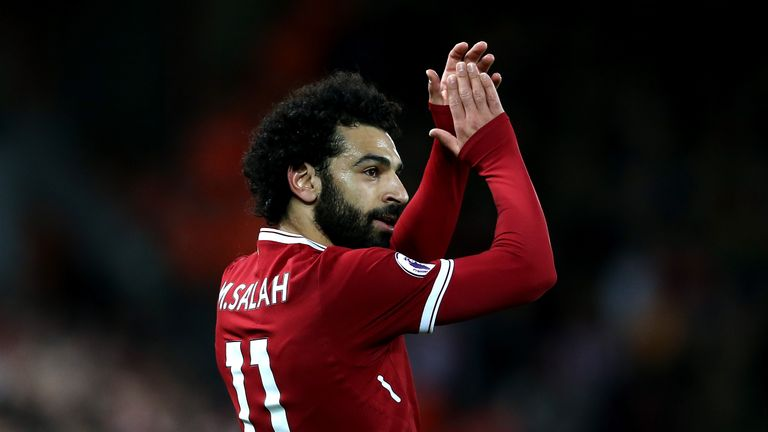 LIVERPOOL, ENGLAND - NOVEMBER 18:  Mohamed Salah of Liverpool acknoweldges the crowd during the Premier League match between Liverpool and Southampton at A