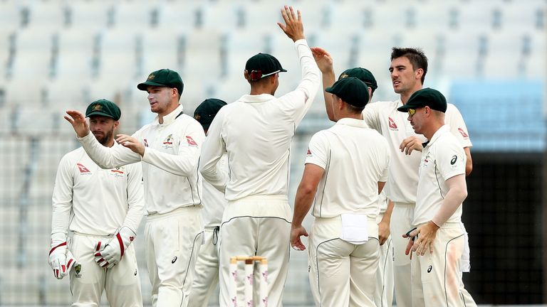 CHITTAGONG, BANGLADESH - SEPTEMBER 07:  Pat Cummins of Australia celebrates after taking the wicket of Soumya Sarker of Bangladesh during day four of the S