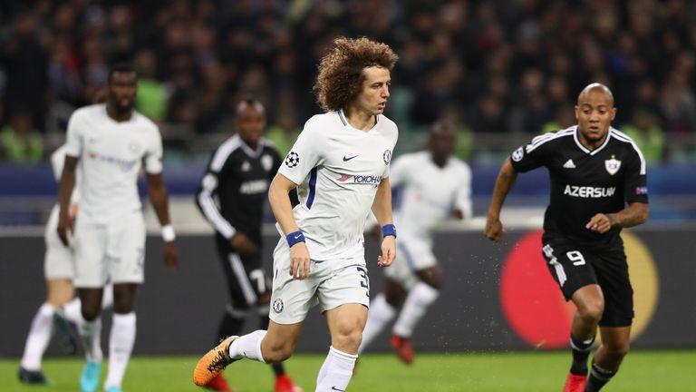 BAKU, AZERBAIJAN - NOVEMBER 22:  David Luiz of Chelsea in action during the UEFA Champions League group C match between Qarabag FK and Chelsea FC at Baki O