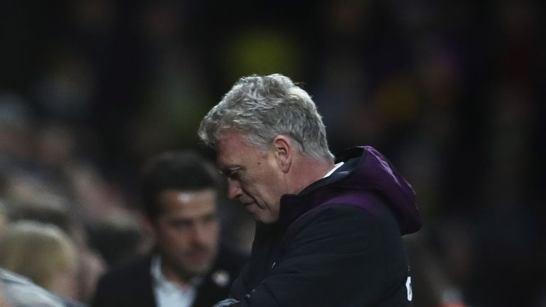 WATFORD, ENGLAND - NOVEMBER 19:  David Moyes, Manager of West Ham United looks thoughtful during the Premier League match between Watford and West Ham Unit