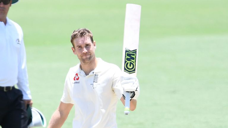 Dawid Malan of England celebrates as he brings up his century on day 3 of the four day tour match vs Cricket Australia XI