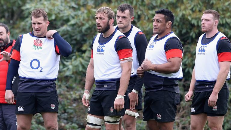 Dylan Hartley, Chris Robshaw, Zach Mercer, Mako Vunipola and Sam Simmonds look on during the England training session